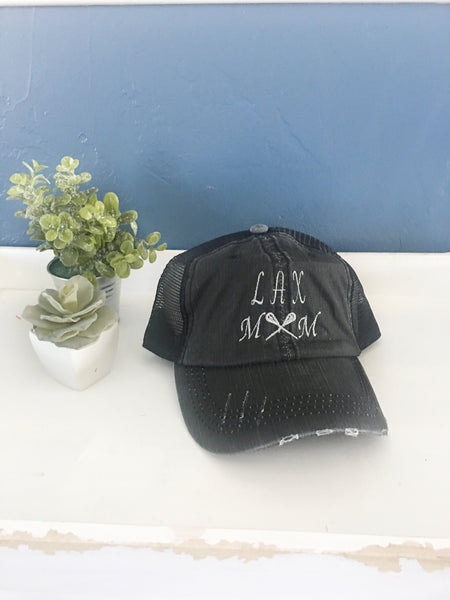 Lacrosse mom hat, lax mom hat, trucker hat, mama style hat, baseball hat, embroidered hat, mothers day gift, gift for mom, baseball cap