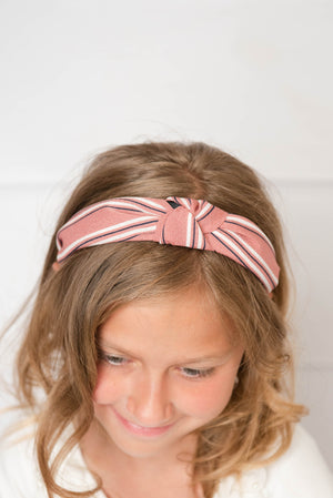 mauve knotted hard headband for girl, womens hard headband for women, girl headband with bow, knotted headband for women's headband, turban