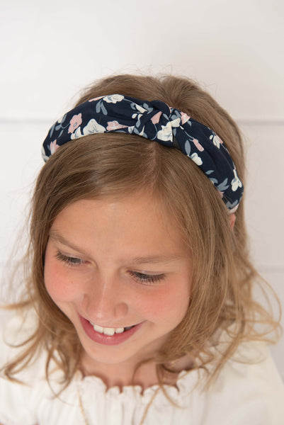 Navy Floral Fabric Knotted Hard Headband