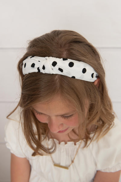 white knotted hard headband