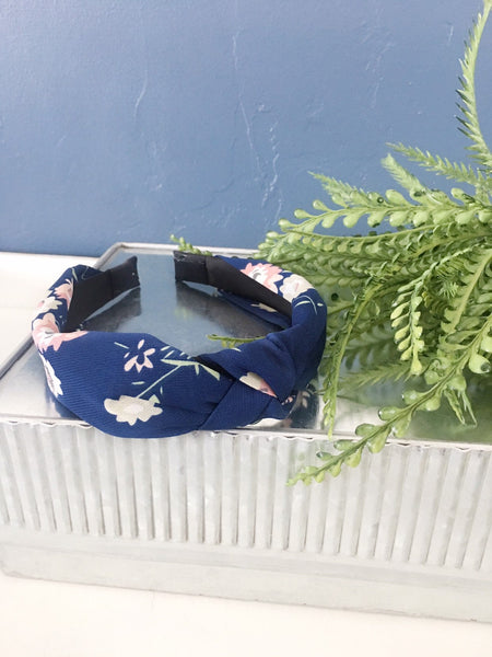 navy floral knotted headband
