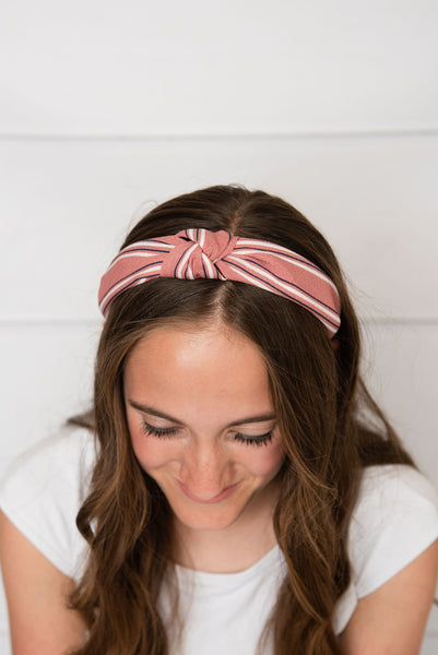 mauve striped headband