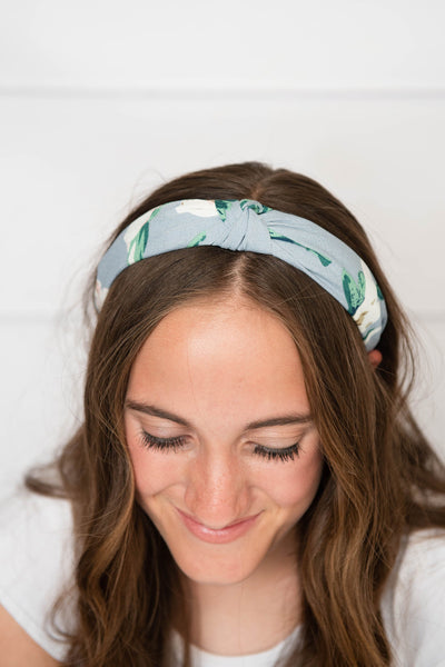 light blue knotted headband