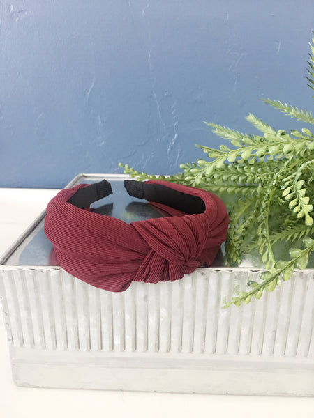 Burgundy Mustard Knotted  Headband