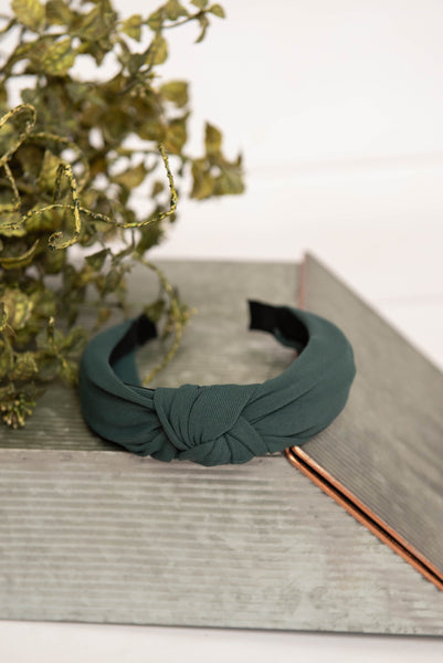 green knotted hard headband