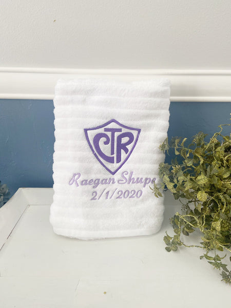 Baptism towel, ctr towel, embroidered bath towel, personalized bath towel, choose the right towel, lds baptism gift, lds gifts Great to be 8