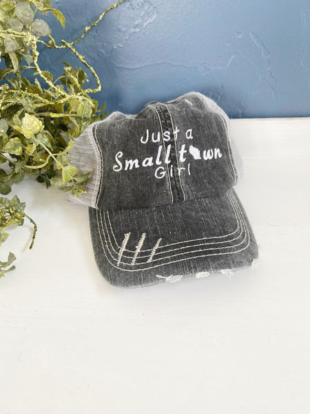 Just a small town girl hat, Michigan Home hat, womens hat, navy hat, Michigan home trucker hat, embroidered home hat, gift for mom,