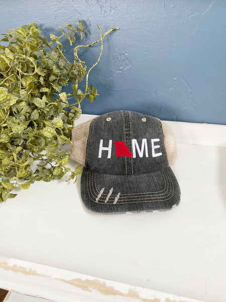 Missouri Home hat, womens hat, denim hat, home trucker hat, embroidered home hat, mothers day gift, gift for mom, grey cap, baseball cap