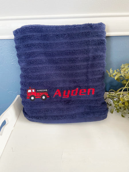 Fire truck gift, fire truck towel, embroidered bath towel, personalized bath towel, personalized towel, fire fighter birthday, fireman party