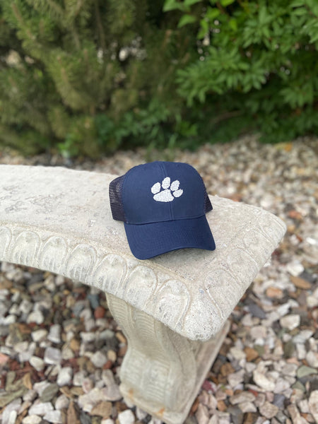 Tiger Paw trucker hat, Embroidered hat, school mascot hat, men's hat, gift for dad, navy trucker hat, personalized hat for husband, cougar