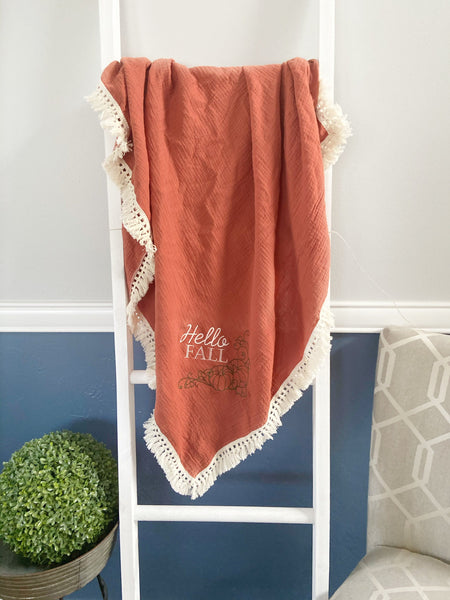 Orange baby swaddle, muslin swaddle blanket, baby shower gift Luxury baby blanket, Tassel throw blanket, baby swaddle blanket muslin blanket