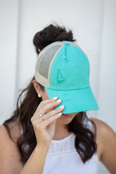 criss cross pony tail hat, baseball cap, messy bun hat, pony tail trucker hat, gift for mom, women's hat, monogrammed hat, embroidered cap