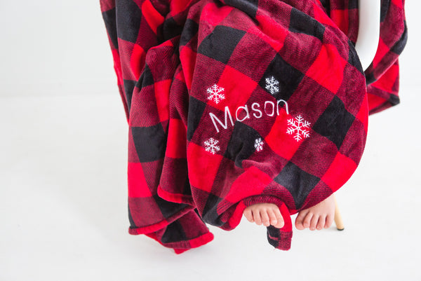 Red Buffalo Plaid blanket, Christmas gift for mom, snowflake blanket , embroidered throw blanket, red buffalo plaid decor, Christmas blanket