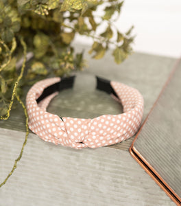 Mauve Polka Knotted Hard Headband