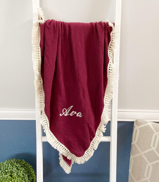 Custom Burgundy Muslin Blanket with Embroidery