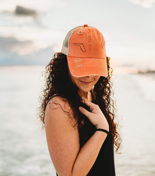 Custom Embroidery Coral Criss Cross Trucker Hat