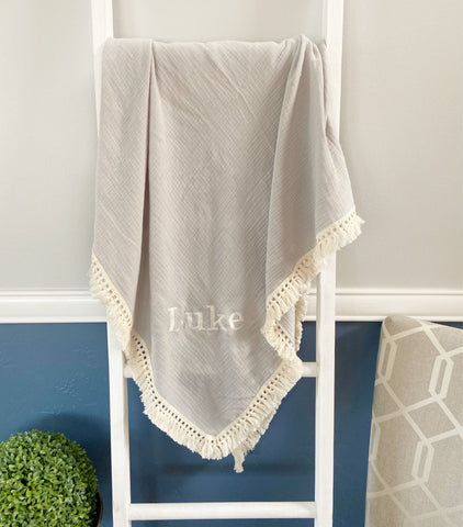 Custom Grey Muslin Blanket with Embroidery