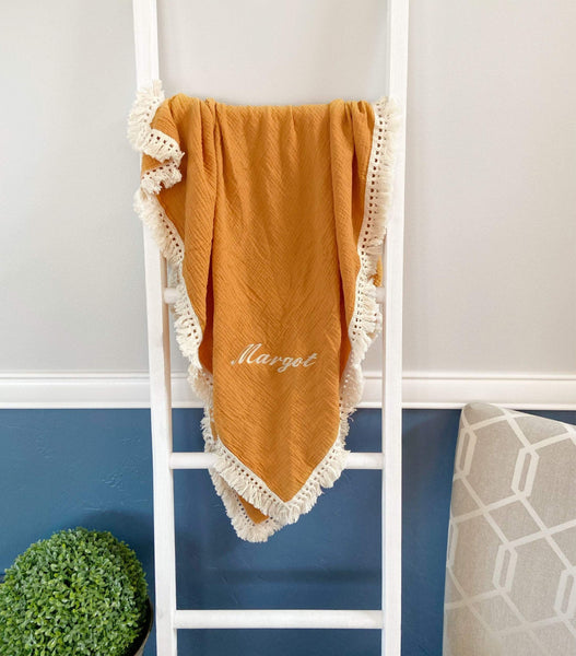 Custom Mustard Muslin Blanket with Embroidery