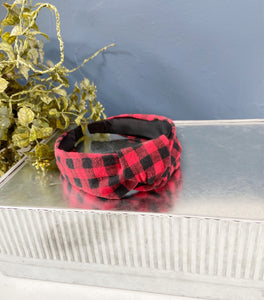 Red Buffalo Plaid headband