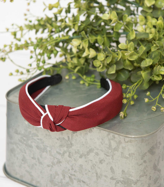 Burgundy White Hard Headband