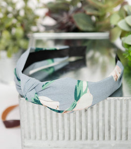 Light Blue Floral Knotted Headband