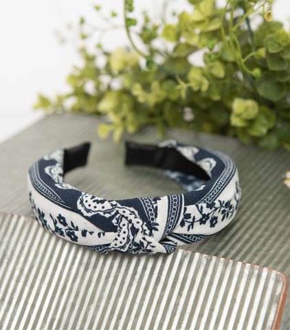 Navy Floral Knotted Fabric Headband