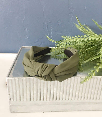 Olive Green Knotted Fabric Headband