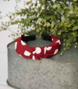 Red Polka Knotted Headband