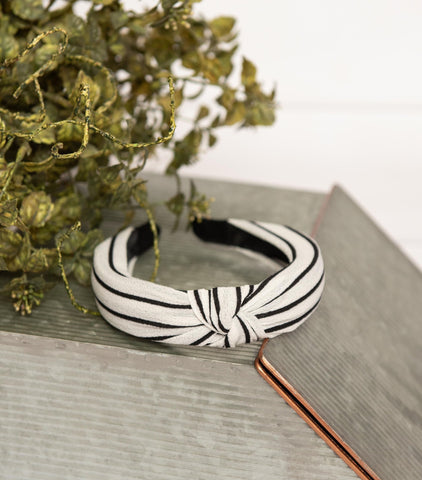 White Striped Knotted Fabric Headband