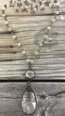 BlueBell Clear Necklace with Brass