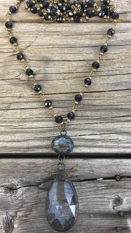 BlueBell Navy Necklace with Brass