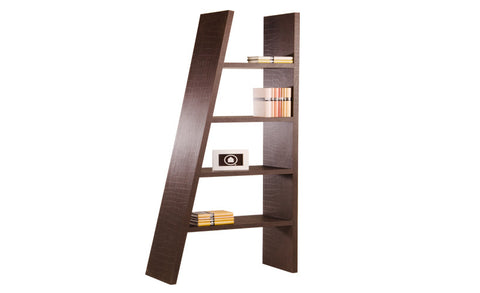 Munich - Asymmetric Shelf with 4 Fields, brown with crocodile leather look - Designs By Phoenix - Furniture - 1