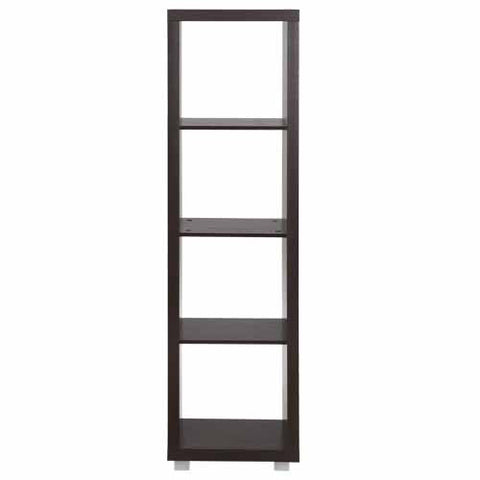 Caro - 4x1 Room Divider, Bookshelf or Lowboard, walnut veneer color