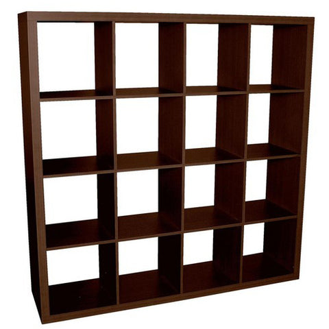 Caro - 4x4 Room Divider or Bookshelf, walnut veneer color
