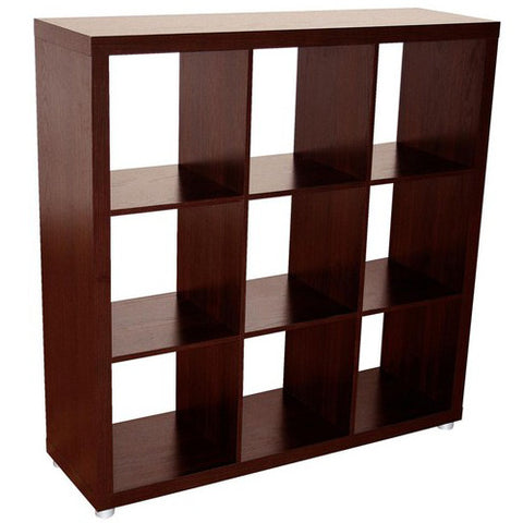 Caro - 3x3 Room Divider or Bookshelf, walnut veneer color