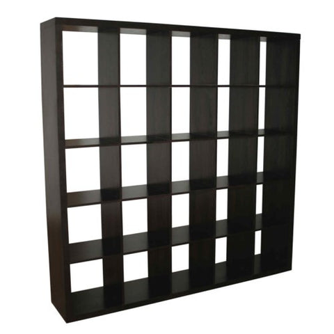 Caro - 5x5 Cube Bookcase, Bookshelf, walnut veneer color