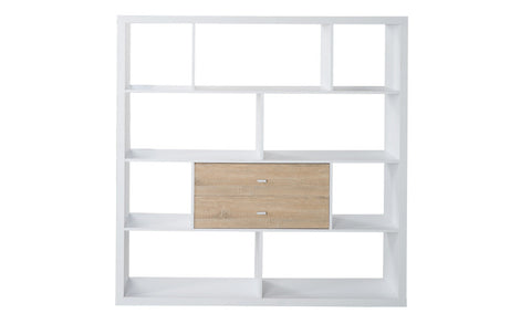 Fortuna - Shelf with 10 asymmetric open fields, white veneer - Designs By Phoenix - Furniture - 1