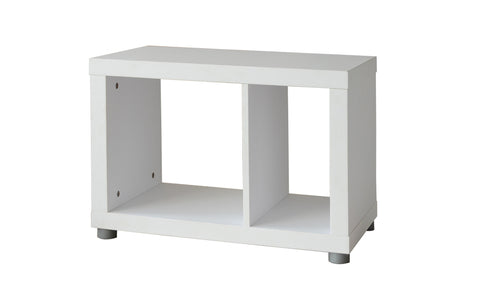 Fortuna - Shelf or Side Table with 2 asymmetric open fields, white veneer - Designs By Phoenix - Furniture - 1