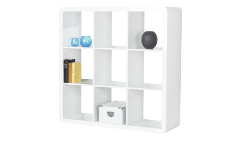Prana - 3x3 Room Divider, white high gloss, round edges - Designs By Phoenix - Furniture - 1