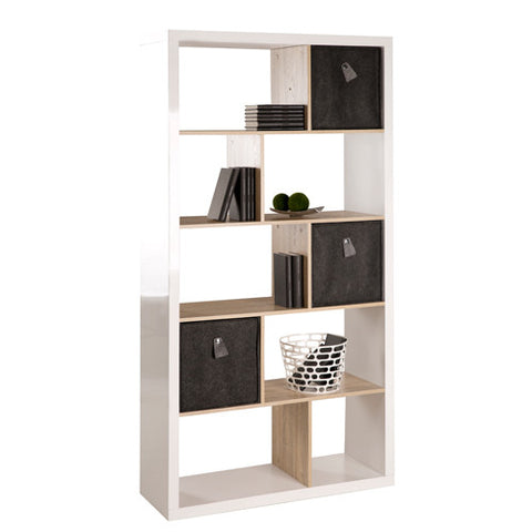 Solina - Bookshelf / Room Divider, 10 asymmetric fields, white high gloss with oak sonoma wood structure