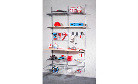 Staxx - Wallshelf for Hobby Room or Garage, white silver - Designs By Phoenix - Furniture - 1