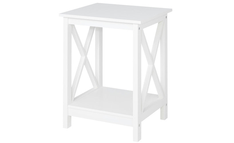 Country   Side Table With 1 Floor, White Lacquered, Country Style