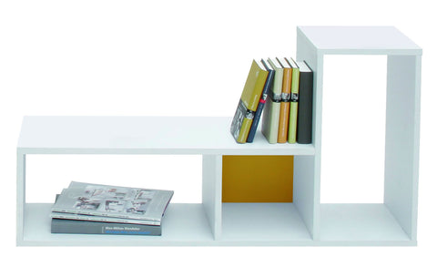 Tetris - Shelf with L-Shape and 3 fields, white veneer with a exchangeable backwall color - Designs By Phoenix - Furniture - 1