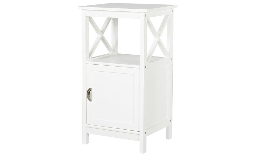 Country Side Table Night Stand With Door White Designs By Phoenix