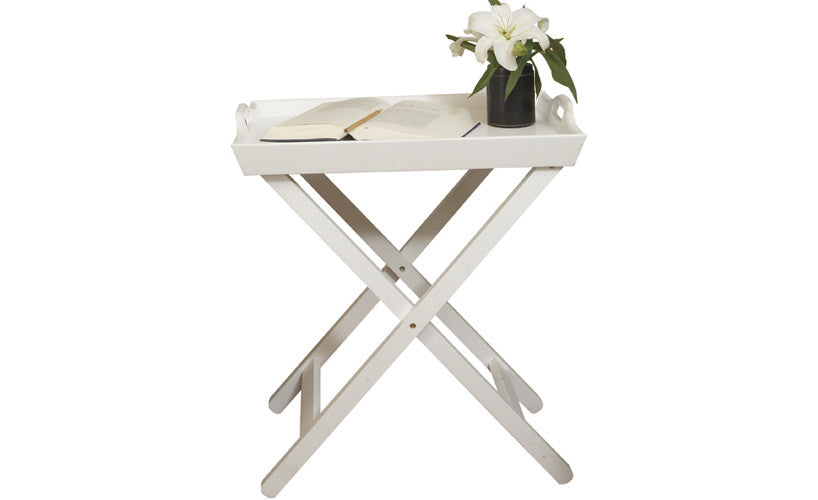 Folding Tray Side Table, Accent Table, White Lacquered