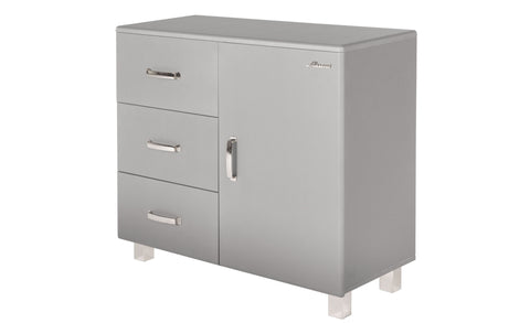 Miami - Commode with 1 door with soft close and 3 full extension drawers with ball bearing sliders, car metallic laquered, chrome colors feet and handles - Designs By Phoenix - Furniture - 1