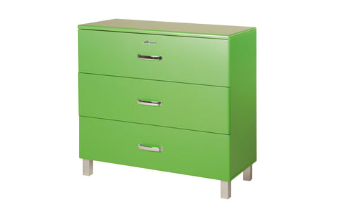 Miami - Commode with 3 full extension drawers with ball bearing sliders, car metallic lacquered, chrome color feet and handle - Designs By Phoenix - Furniture