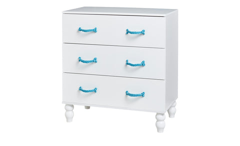 Cord - Commode with 3 drawers, blue paracord handles, white lacquered, solid wood feet, including more paracord and instruction for plat - Designs By Phoenix - Furniture - 1
