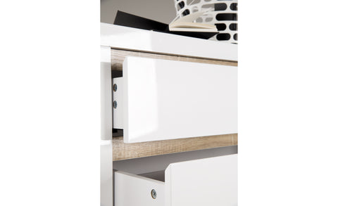 Solina - Highboard with 2 Drawers and 2 Doors, White high gloss with oak sonoma shadow lines - Designs By Phoenix - Furniture - 1