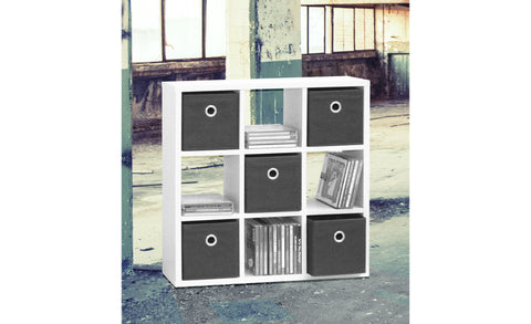 Prag - Wallshelf with 9 open fields and 5 brown storage boxes, white paper surface - Designs By Phoenix - Furniture
